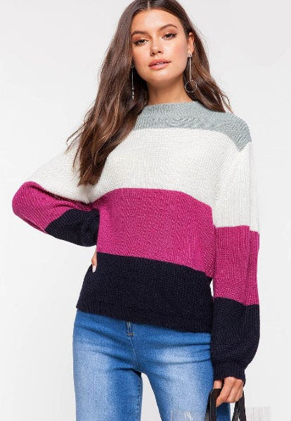 Victoria Color Block Sweater from A'gaci