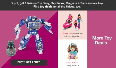 B2G1 Free on Toy Story, Beyblades, Dragons & Transformers Toys from Target