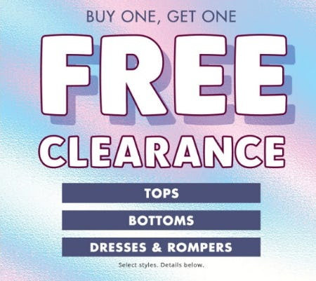 BOGO Free Clearance from Justice