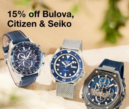 15% Off Bulova, Citizen & Seiko from macy's