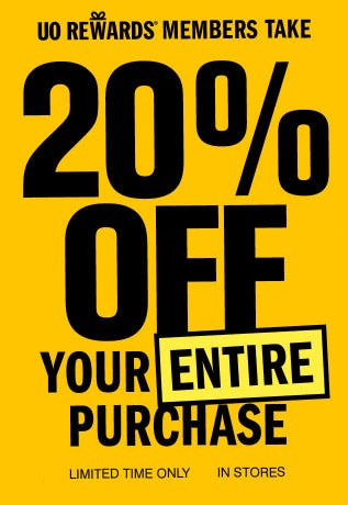20% Off Your Entire Purchase from Urban Outfitters
