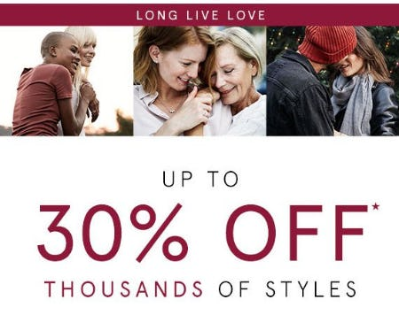 Up to 30% Off Thousands of Styles from Kay Jewelers