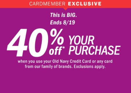 40% Off Your Purchase from Old Navy