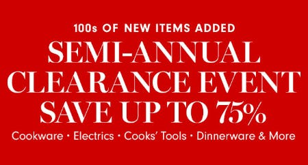 Up to 75% Off Semi-Annual Clearance Event from Williams-Sonoma