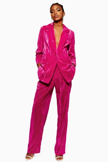 Pink Crinkle Velvet Suit from Topshop