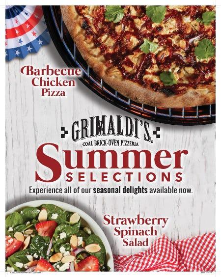 Summer Selections Seasonal Menu from Grimaldi's Coal Brick Oven Pizzeria
