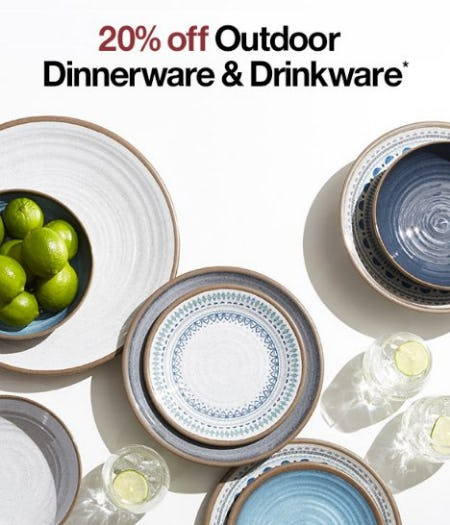 20% Off Outdoor Dinnerware & Drinkware from Crate & Barrel