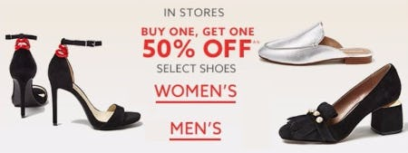 BOGO 50% Off Select Shoes