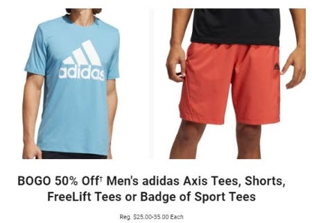 BOGO 50% Off Men's adidas Axis Tees, Shorts, FreeLift Tees or Badge of Sport Tees