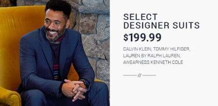 Select Designer Suits Starting at $199.99