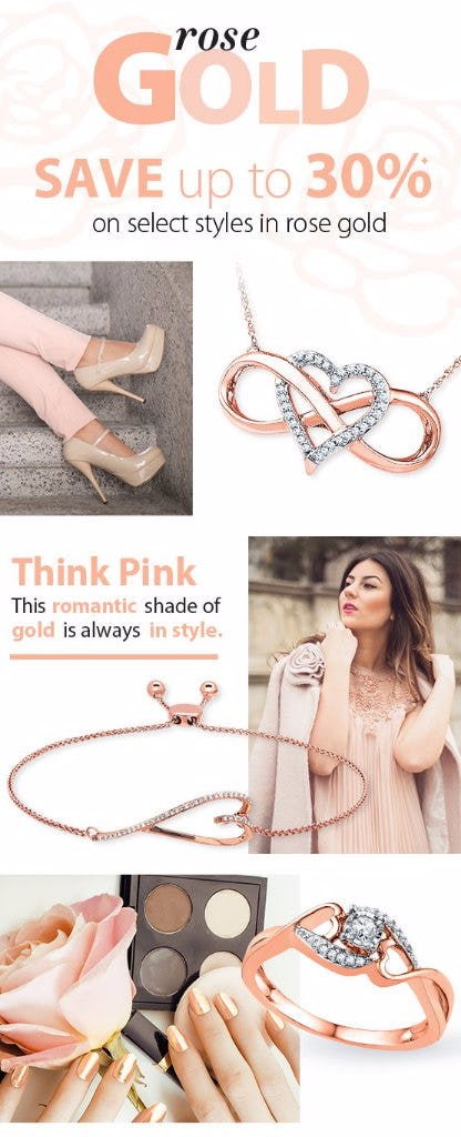 Save up to 30% on Select Rose Gold Fashions