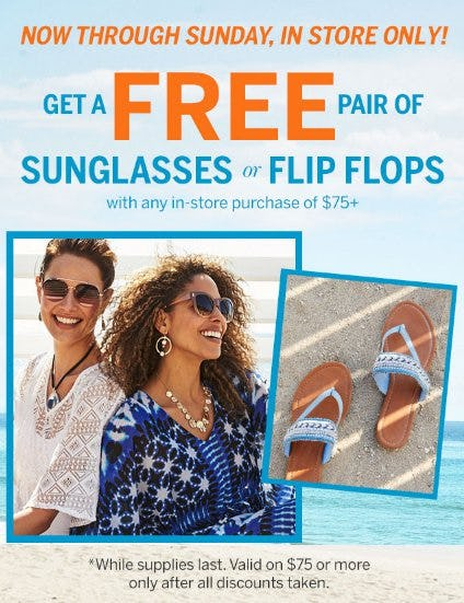 Get a Free Pair of Sunglasses or Flip Flops With Any In-Store Purchase of $75+ from Dress Barn, Misses And Woman