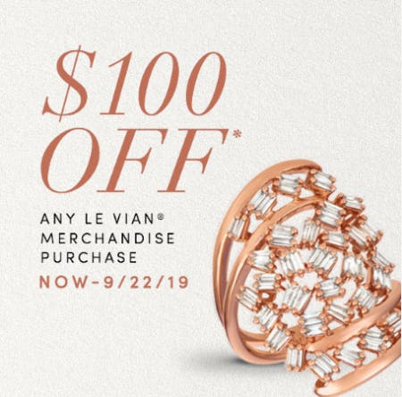$100 Off Any Le Vian Merchandise from Jared Galleria Of Jewelry