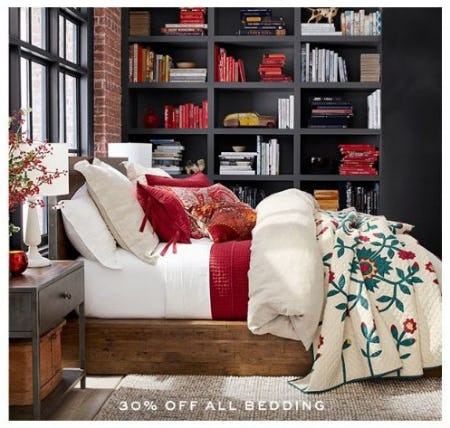 30% Off All Bedding from Pottery Barn