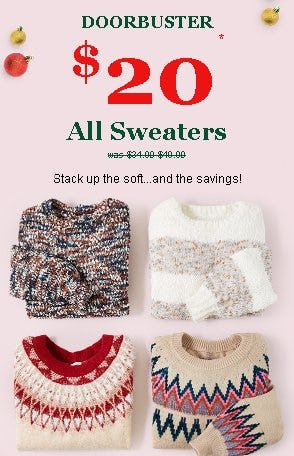 $20 All Sweaters from maurices