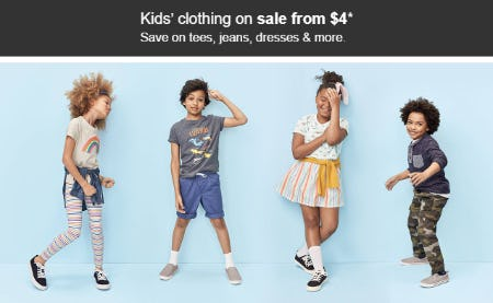 Kids' Clothing on Sale from $4 from Target