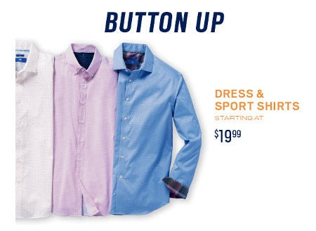 Dress and Sport Shirts Starting at $19.99 from Men's Wearhouse