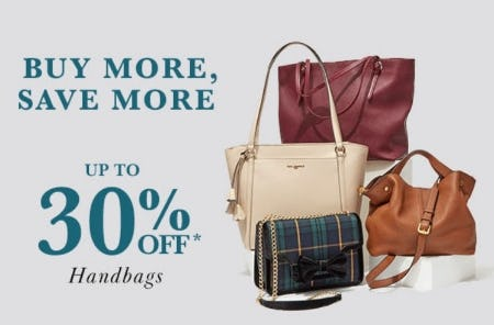 Up to 30% Off Handbags from Lord & Taylor