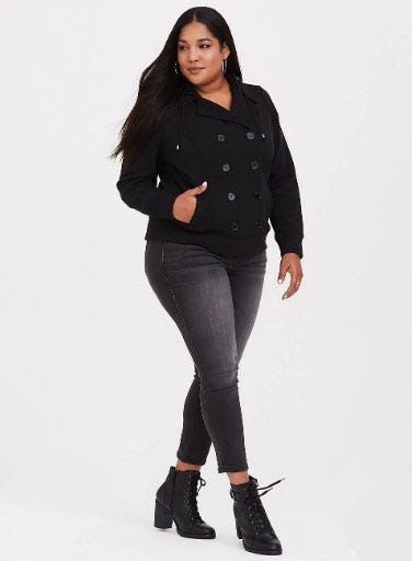 Black Double Breated Bomber Jacket from Torrid