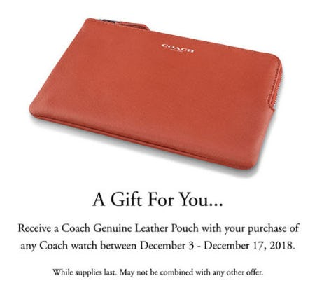 Free Gift with Coach Watch Purchase from Jared Galleria Of Jewelry