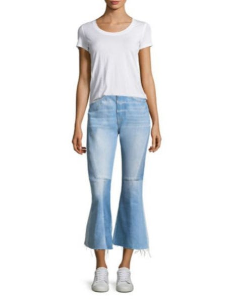 Frame Seamed Bootcut Cotton Jeans