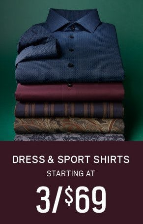 Dress & Sport Shirts Starting at 3 for $69 from Men's Wearhouse