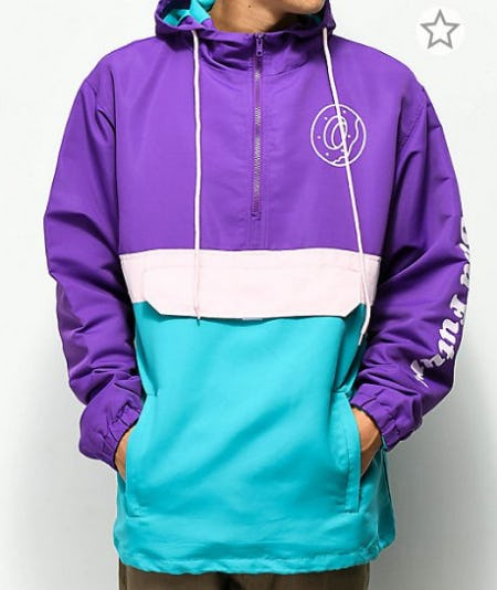 Odd Future Donut Purple, Teal, & Pink Anorak Jacket from Zumiez