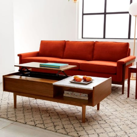 Mid-Century Pop-Up Storage Coffee Table - Walnut from West Elm