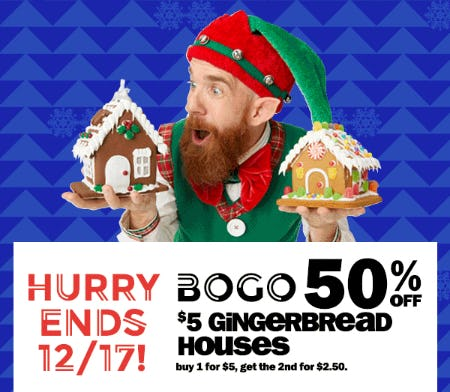 BOGO 50% Off on $5 Gingerbread Houses from Five Below