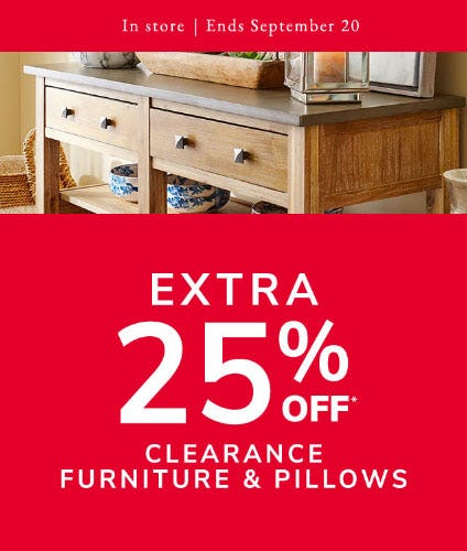 Extra 25% Off Clearance Furniture & Pillows from Pier 1 Imports