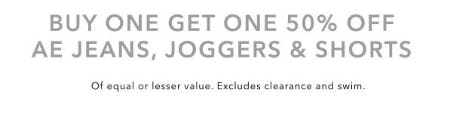 Buy One, Get One 50% Off AE Jeans, Joggers & Shorts from American Eagle Outfitters