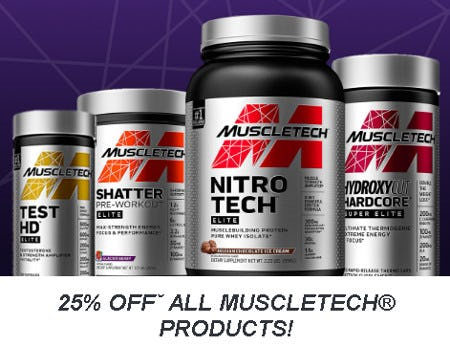 25% Off All MuscleTech Products