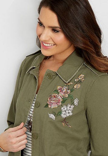 Twill Jacket with Floral Embroidery from maurices