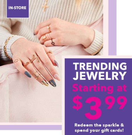 Trending Jewelry Starting at $3.99