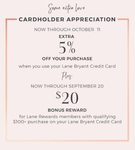Extra 5% Off Your Purchase from Lane Bryant