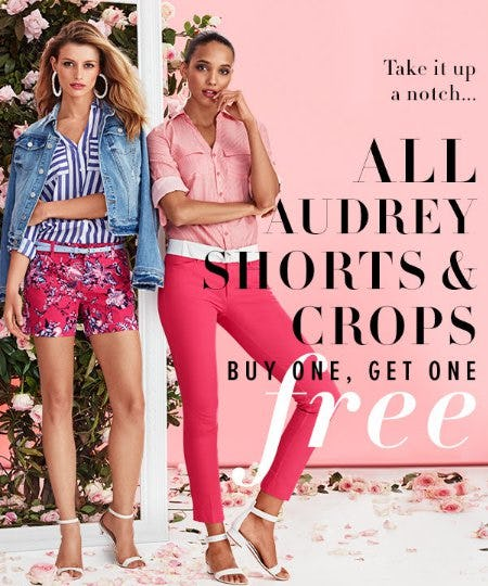All Audrey Shorts & Crops Buy One, Get One Free from New York & Company