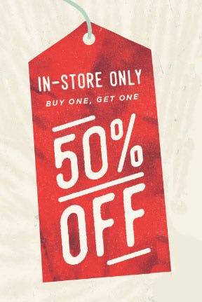 BOGO 50% Off In-Store from Earthbound Trading Company