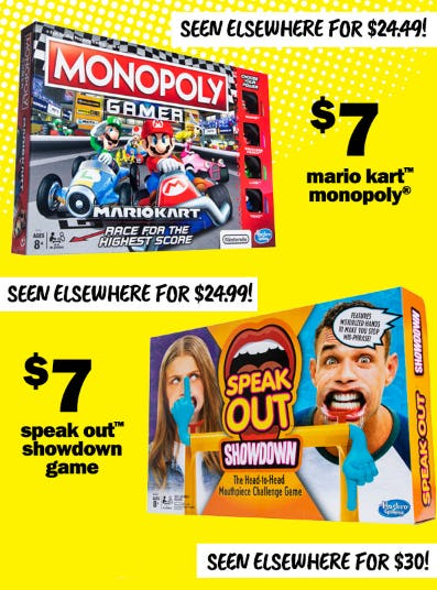 $7 Mario Kart Monopoly & $7 Speak Out Showdown Game from Five Below