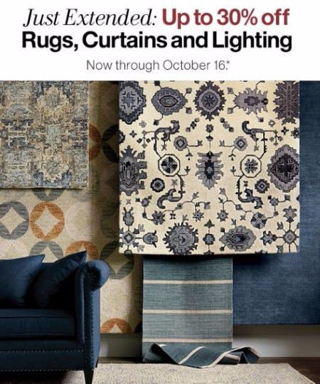 Up to 30% Off Rugs, Curtains & Lighting