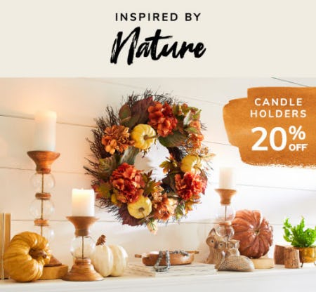 20% Off Candle Holders from Pier 1 Imports
