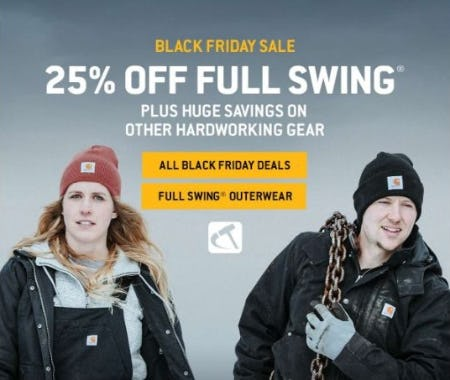 Black Friday Sale: 25% Off All Full Swing from Carhartt