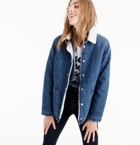 Denim Sherpa Swing Jacket