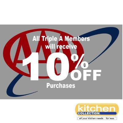 All Triple A Members Will Receive 10% Off Purchases from Kitchen Collection