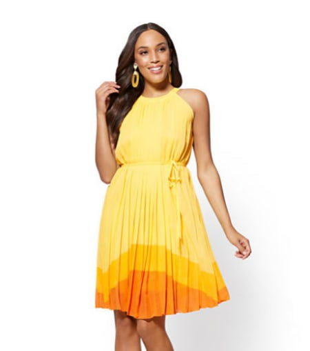 Colorblock Pleated Halter Shift Dress from New York & Company