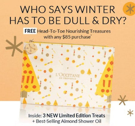 Free Head-to-Toe Nourishing Treasures with any $85 Purchase from L'Occitane