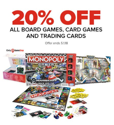 20% Off All Board Games, Card Games & Trading Cards from GameStop