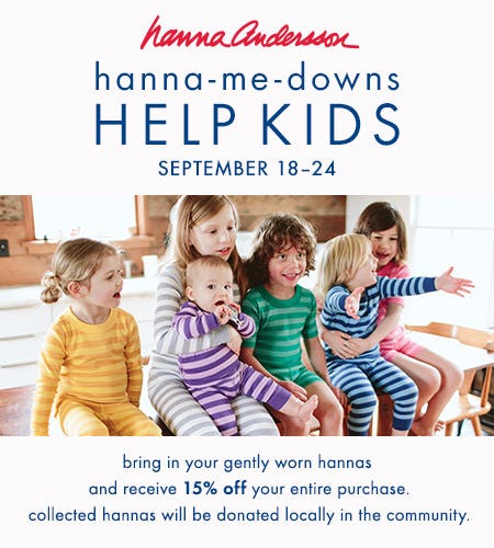 Bring in gently worn hannas + receive 15% off