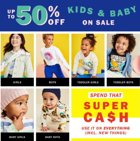 Up to 50% Off Kids & Baby On Sale