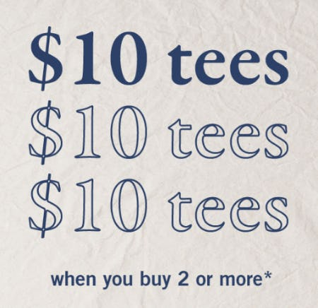 $10 Tees with 2 or More Purchase from Abercrombie Kids