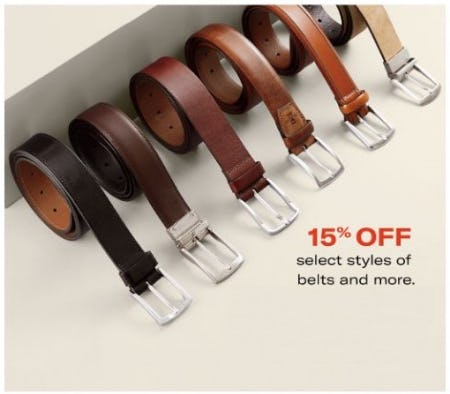 15% Off Select Styles of Belts and More